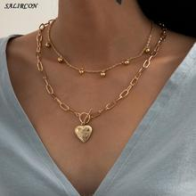 Salircon Kpop Flower Heart Pendant Chain Necklace for Women Jewelry Gift Vintage Aesthetic Multi Layer Crystal Choker Necklace