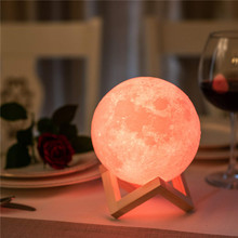 3D Print LED Moon Lamp Dimmable Light Lunar Remote&Touch Control Color Changing USB Night with Wooden Stand