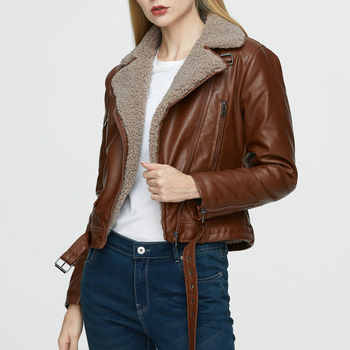 2020 New Fashion Women Winter Warm Faux Leather Jackets with Fur Collar Lady White Black Motorcycle & Biker Street Outerwear Coats