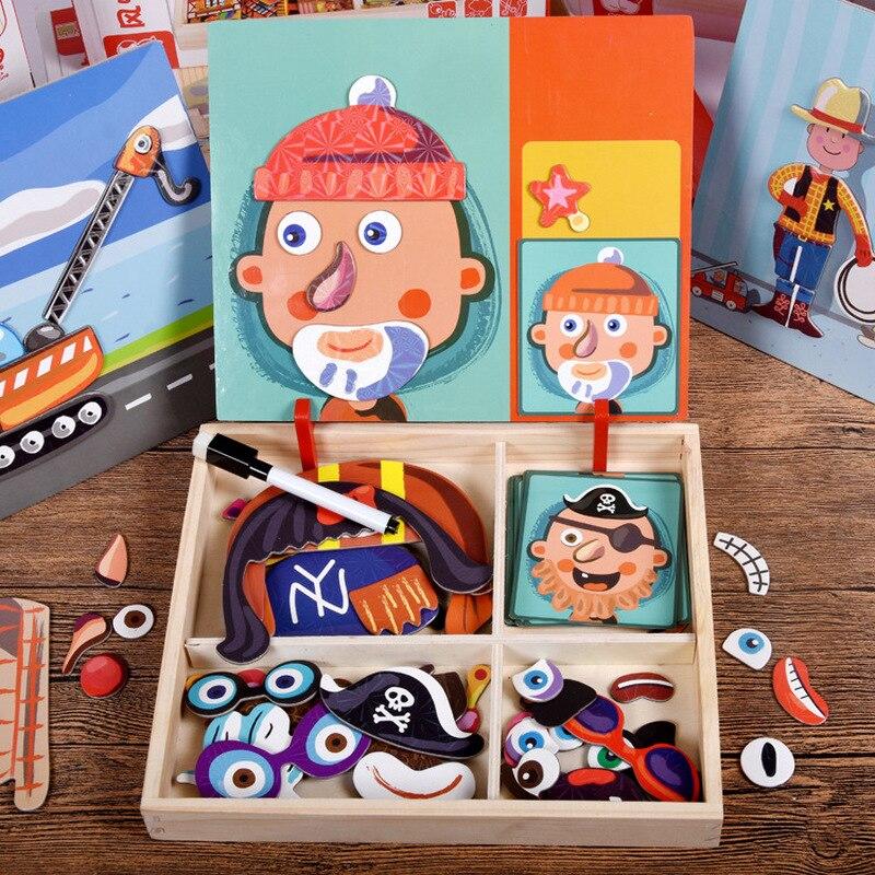 Детский Магнитный пазл для раннего развития, когнитивный пазл, подходящая девушка, клоун, сменные особенности лица, мультяшная 3D деревянная...