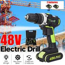 48V Electric Drill Cordless Screwdriver 15 Torque 2 Speed Wireless Power Driver Rechargeable 13000mah With 1/2pcs Li-ion Battery(China)