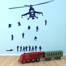 Cool Children Room Art Mural Room Airplane Aircraft Decal Vinyl Wall Sticker Quote Army Men Soldier and Military Helicopter(China)