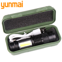 Lámpara táctica impermeable, bombillas LED XP-G Q5 con batería integrada, linterna de carga USB, COB LED ajustable