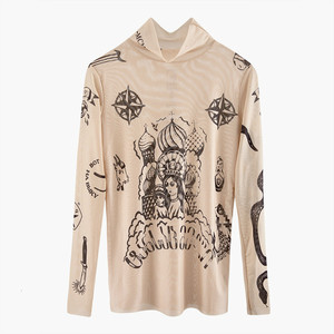 2020 Autumn New Fashion Women Basal Top Goddess Tatoo Print Long Sleeve High Tight Collar Nude Color Mesh Yarn SEXY T-shirt B666