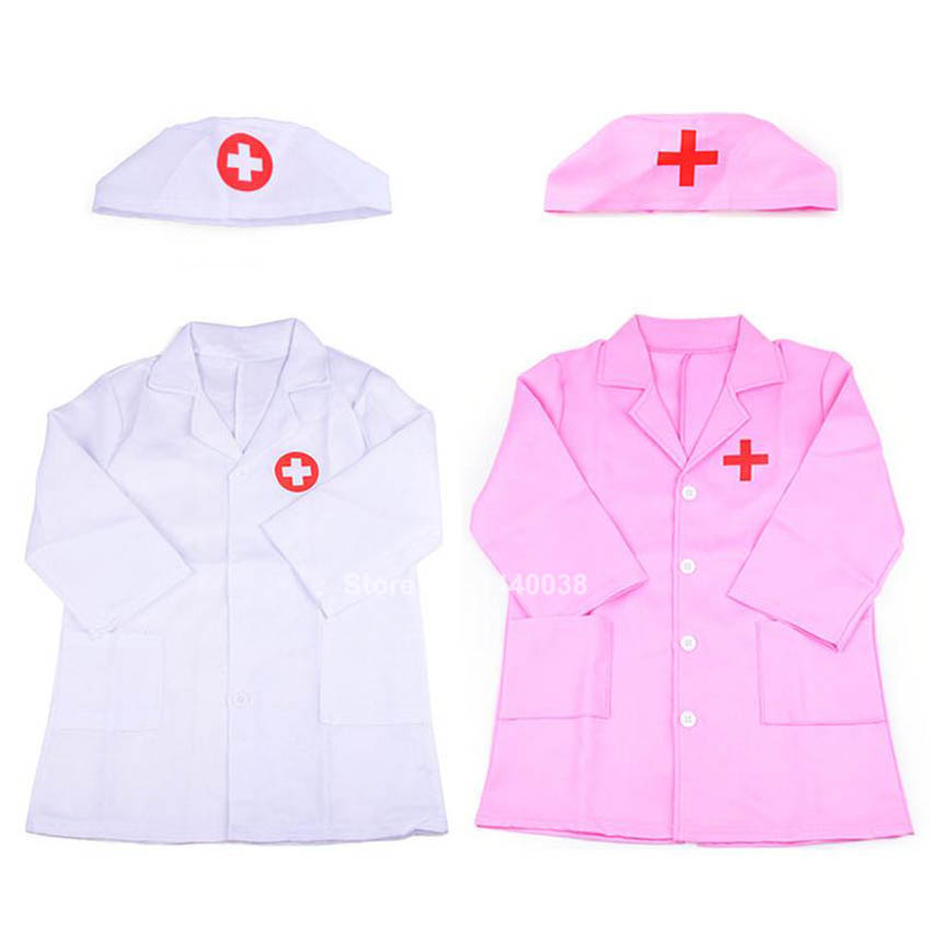 Kids Medical Uniform Girls Nurse Dress Kids Boy Doctor Coat Carnival Cosplay Costumes Performance Lab Hospital Dentist Gown