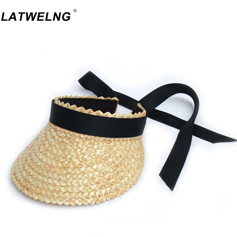 New Design Long Ribbon Straw Sun Hat For Women Fashion Big Bow Beach Hats Lady Holiday Summer Visor Empty Top Caps Wholesale