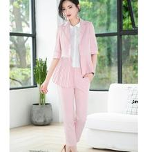 Casual Women Half Sleeve Pant Suits Black Pink Red Summer Spring Soft Fabric