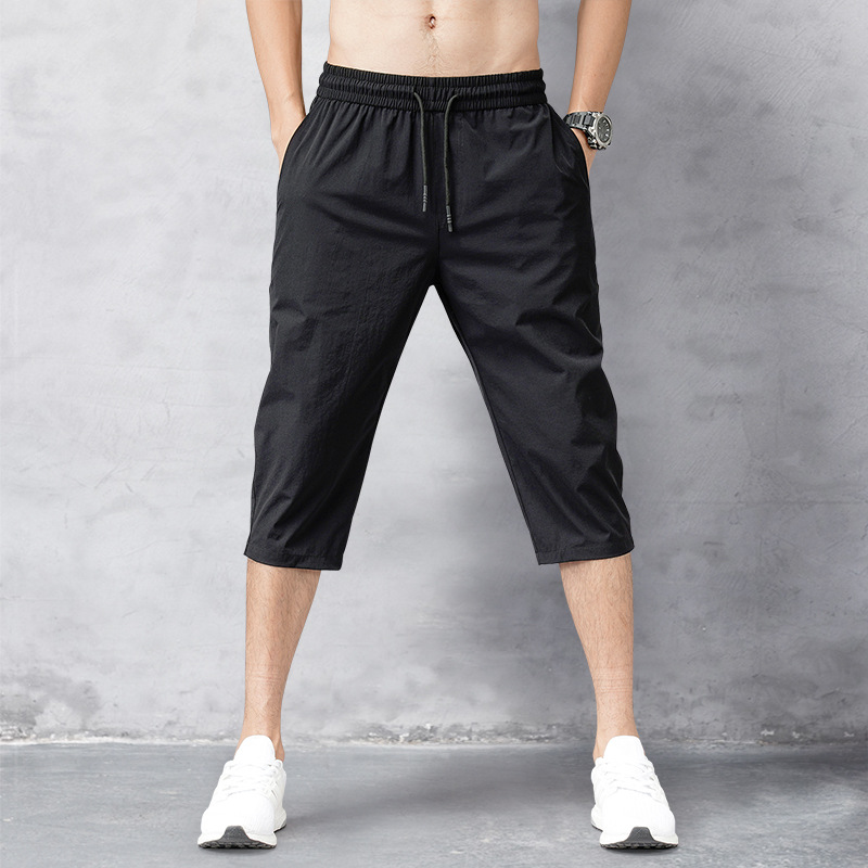 Mens Shorts Summer 2020 Breeches Thin Nylon 3/4 Length Trousers Male Bermuda Board Quick Drying Beach Black Long Shorts Men