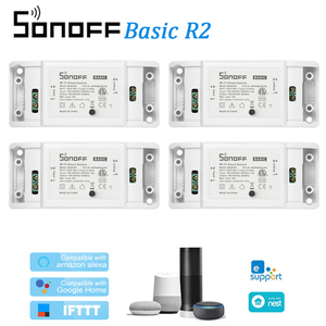 Image 1 - 4Pcs ITEAD Sonoff Basic R2 Wifi DIY Smart Wireless Remote Switch Domotica Light Controller Module For Alexa Google Home eWeLink