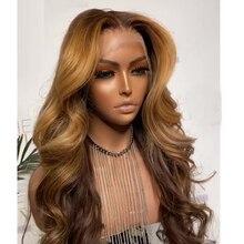 Ombre marrom destaque onda do corpo long5x5 peruca superior de seda do plutônio cabelo humano ferramentas do prego define natural linha fina perucas dianteira do laço peruca diária