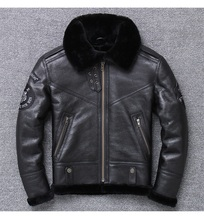 YR!Free shipping.Wholesales.Brand mans genuine leather jacket.black 100% shearling coat.sheepskin+wool.winter warm clothes,