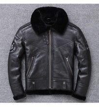 YR! Veste en cuir véritable pour hommes, vente en gros, manteau de peau de mouton + laine, vêtements chauds dhiver, 100%