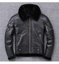 YR! Бесплатная доставка, оптовая продажа, мужская куртка из натуральной кожи, черное пальто из 100% овчины, овечья шерсть, зимняя теплая одежда