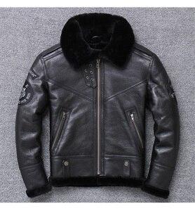 Image 1 - 年! 送料無料。卸売。ブランド本革 jacket. 黒 100% ムートンコート。シープスキン + ウール。冬暖かい服、