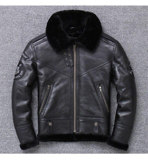年! 送料無料。卸売。ブランド本革 jacket. 黒 100% ムートンコート。シープスキン + ウール。冬暖かい服、