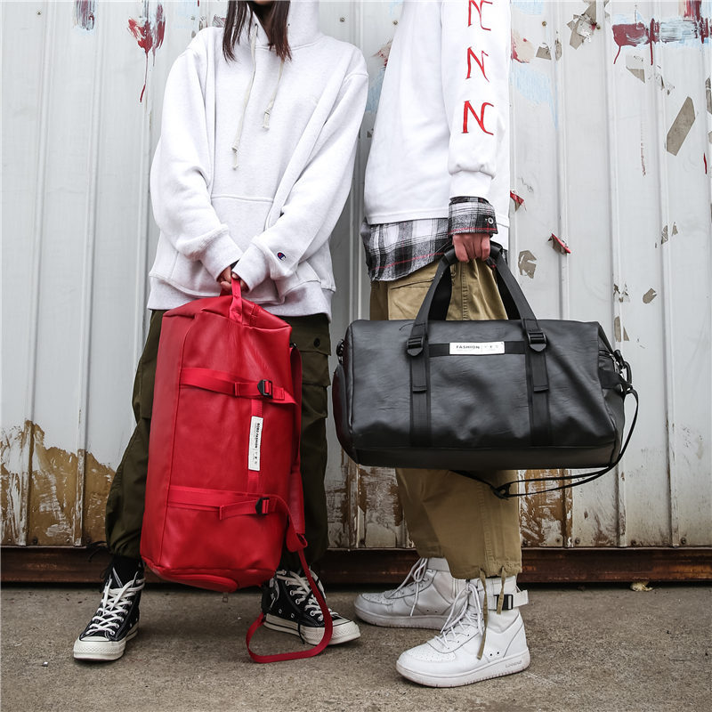 Unisex Women Travel Big Bag Organizer Shoe Bags Leather Red Luggage Handbag High Quality Couple Short Trip Large Duffle Bag Men