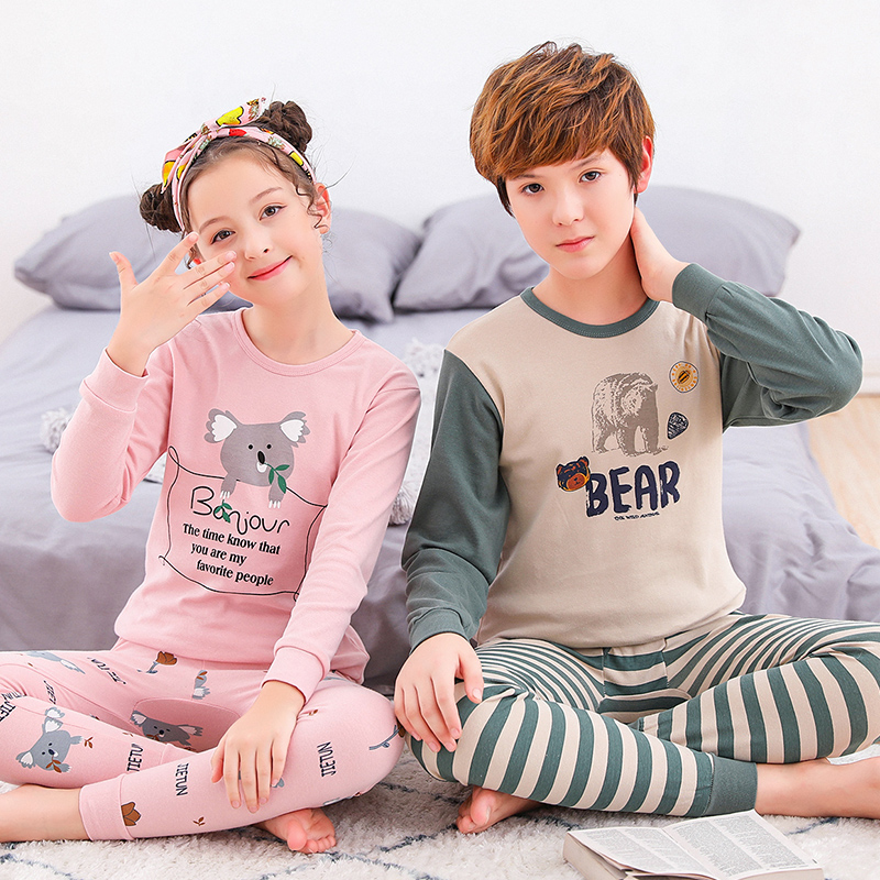 Autumn Winter Pyjamas Teenage Nightgown for Girls Boys Clothing Big Boy Cotton Warm Nightwear Home Thermal   Pajama     Sets   Underwear