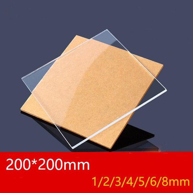 Lámina de plástico transparente de plexiglás, tablero acrílico, metacrilato de polimetilo de vidrio orgánico, 1mm, 3mm, 8mm de espesor, 200x200mm