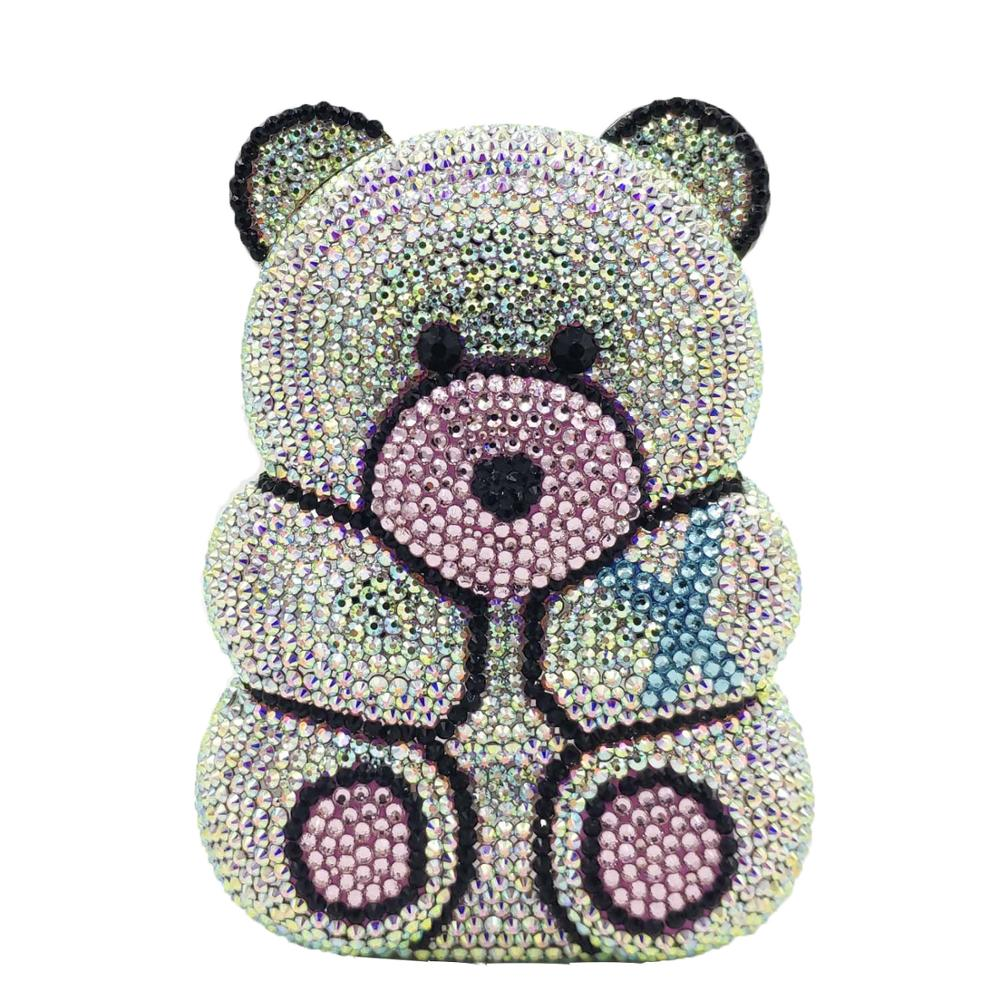 Boutique De FGG 3D Bear Teddy Shape Women Silver Pink Crystal AB Evening Clutch Handbags And Purses Diamond Wedding Party Bag