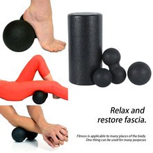 4 pcs Yoga Massage Roller Fitness Ball Foam Roller Set for Back Pain Self-Myofascial Treatment Pilates Muscle Release Exercises