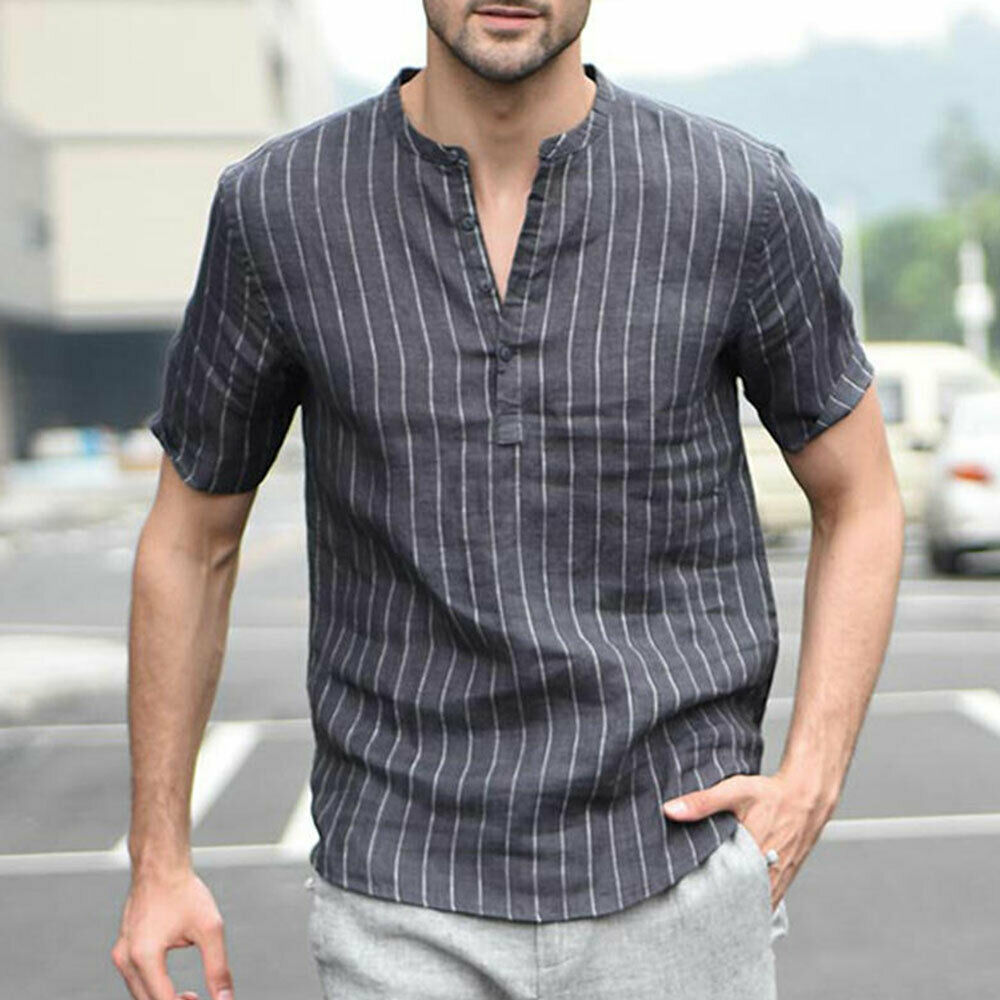 Hot Summer Men's Shirts Linen V Neck Short Sleeve Striped Basic Pullover Gray Slim Tee Stand Collar Casual Tops New M-2XL