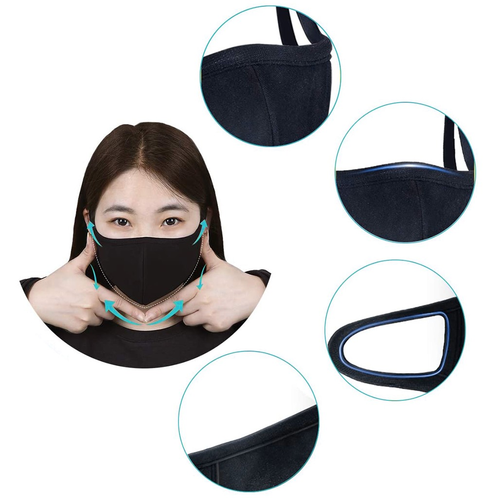 3/6 PCS Face Care Cover Windproof Mouth-muffle Dustproof Face Care Reusable Washable Cover Black 2020 Best Sale Dropshipping