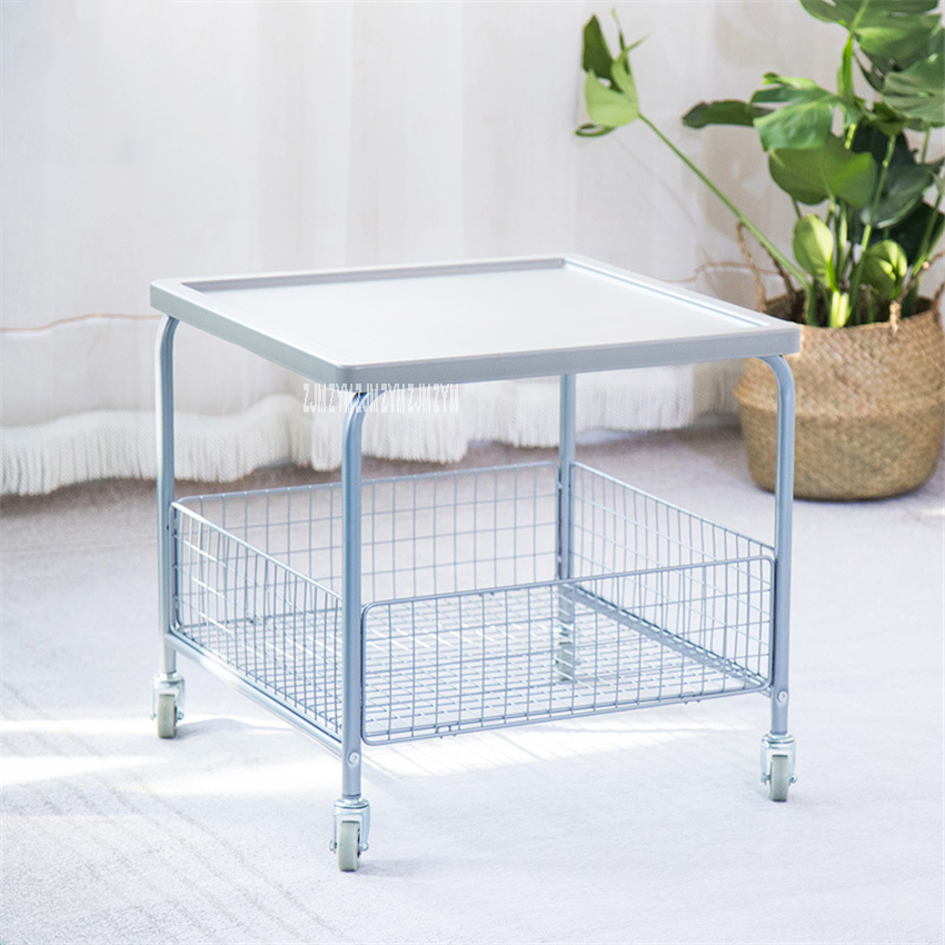 Modern Double Layer Trolley Side Table Mobile Coffee Table Removable Tea Table With Wheels Stainless Steel Net Frame Cart Table