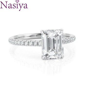 NASIYA 6X8mm EF Color Emerald Cut Moissanite Rings With 14K 585 White Gold For Women Engagement Anniversary Wedding Gift 1