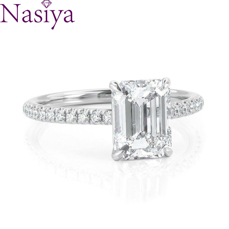 NASIYA 6X8mm EF Color Emerald Cut Moissanite Rings With 14K 585 White Gold For Women Engagement Anniversary Wedding Gift