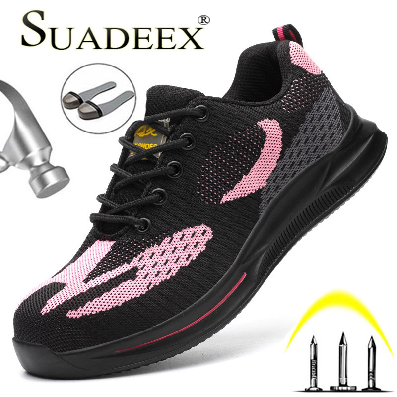 SUADEEX Work Safety Shoes For Women Men All Season Anti-smashing Steel Toe Cap Shoes Breathable Safety Sneakers Size # 36-47#