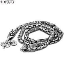 Ожерелье с драконом ручной работы, винтажное ожерелье из серебра 990 пробы с драконом, чистое серебро, тибетское ожерелье с изображением мантры дракона, мужское ожерелье