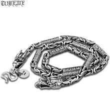 Collier Dragon artisanal Vintage 990 argent Dragon collier pur argent tibétain OM Mantra Dragon collier homme