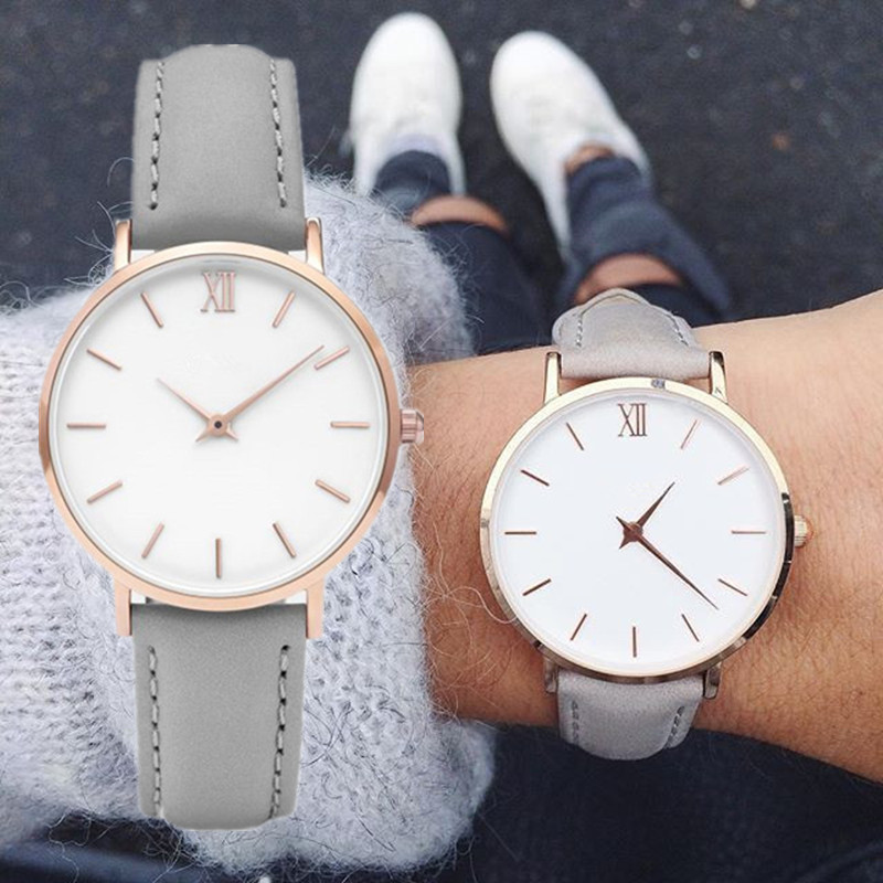 Simple Women Watch Roman Scale Rose Gold Round Dial Women's Watches Belt Fashion Female Clock Wrist Watch Relogio Feminino Saati