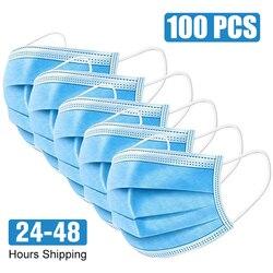 100 adet yüz ağız Anti virüs maskesi tek kullanımlık koruyucu 3 kat filtre toz geçirmez kulak askısı olmayan dokuma ağız maskeleri 48 saat kargo