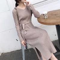 Korean Fashion Pullover Kleid Frauen Gestrickte Pullover Kleider Elegante Frauen Hohe Taille Pullover Kleid Plus Größe Vestidos De Fiesta
