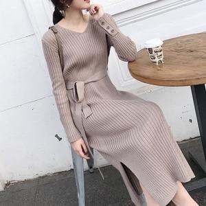 Korean Fashion Sweater Dress Women Knitted Sweaters Dresses Elegant Women High Waist Sweater Dress Plus Size Vestidos De Fiesta(China)
