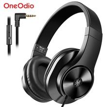 Oneodio T3 3.5mm 유선 헤드폰 이어폰 휴대용 스테레오 이어폰 헤드 밴드 헤드셋 마이크 컴퓨터 전화 PC 용
