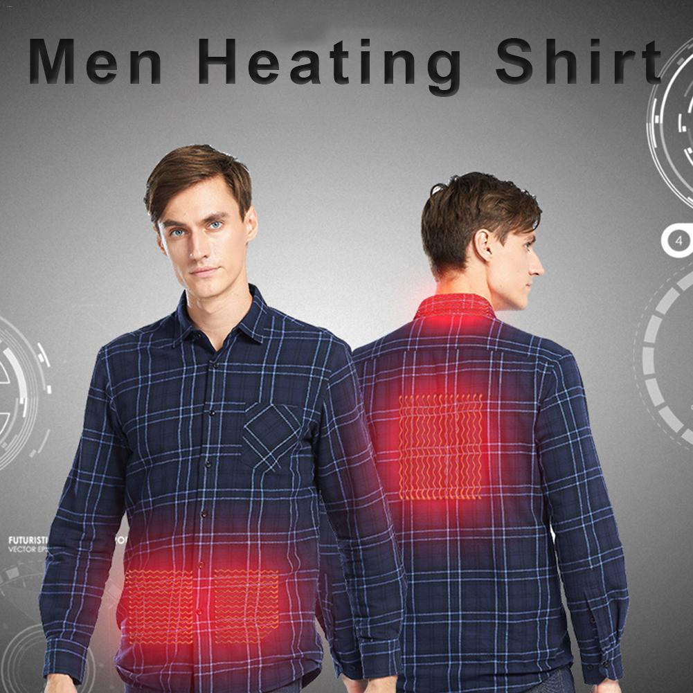 Winter Outdoor Jacket With Heated Shirt Wild Plaid Shirt Heating Suit For Men