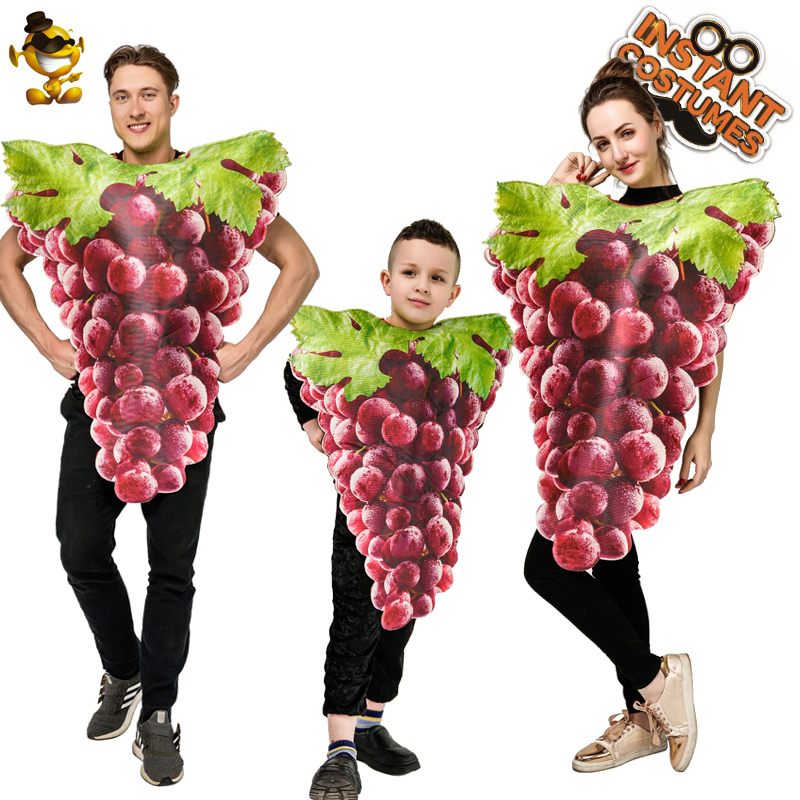 New Arrival Adult Couple Bunch Of Grapes Costume Cosplay Kid Purple Grapes Jumpsuit Masquerade Costume For Halloween&Carnival