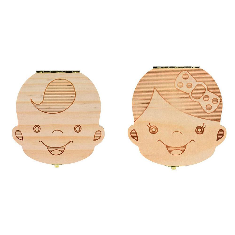 Fallen Tooth Box Storage English Spanish RussianText Little Boy Girl Wood Case Save Milk Teeth Collection Organizer Holder