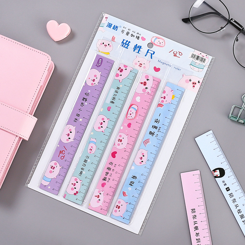 1 PCS Magnet Pig Ruler Cute 18cm Bendable Measuring Straight Rulers Drawing Tool Promotional Stationery Gift School Supplies