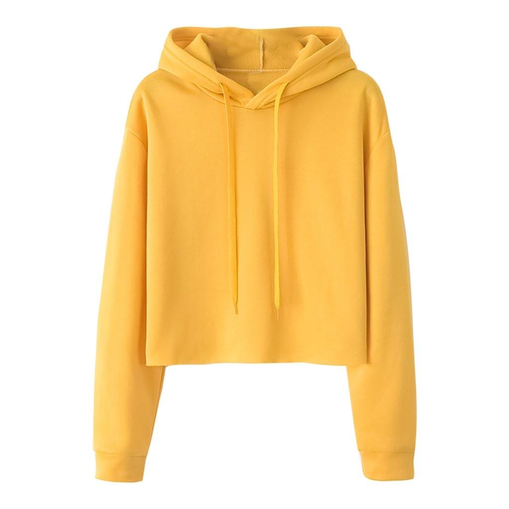 Feitong Autumn Winter Sweatshirt Women Loose Fashion Hoodies Solid Color Pullovers Sweatshirt Long Sleeve Hooded Crop Tops