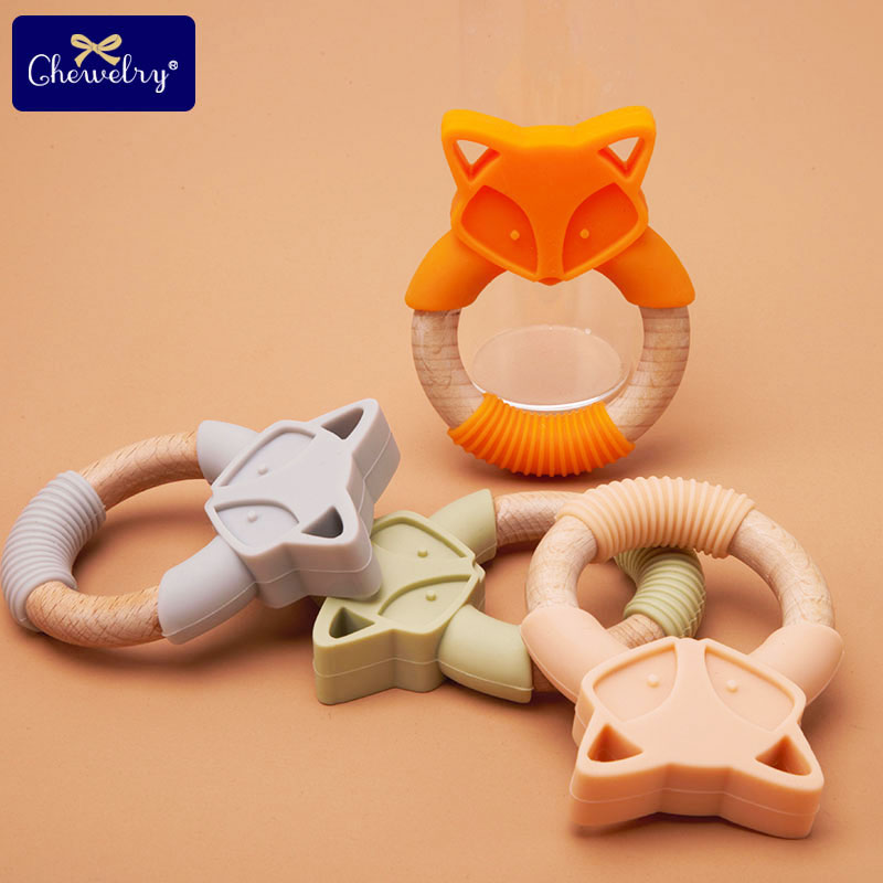 1pc Wooden Teething Ring Baby Teethers Silicone Fox Rodents Silicone Teethers Wooden Teether Stroller For Kids Products Toys