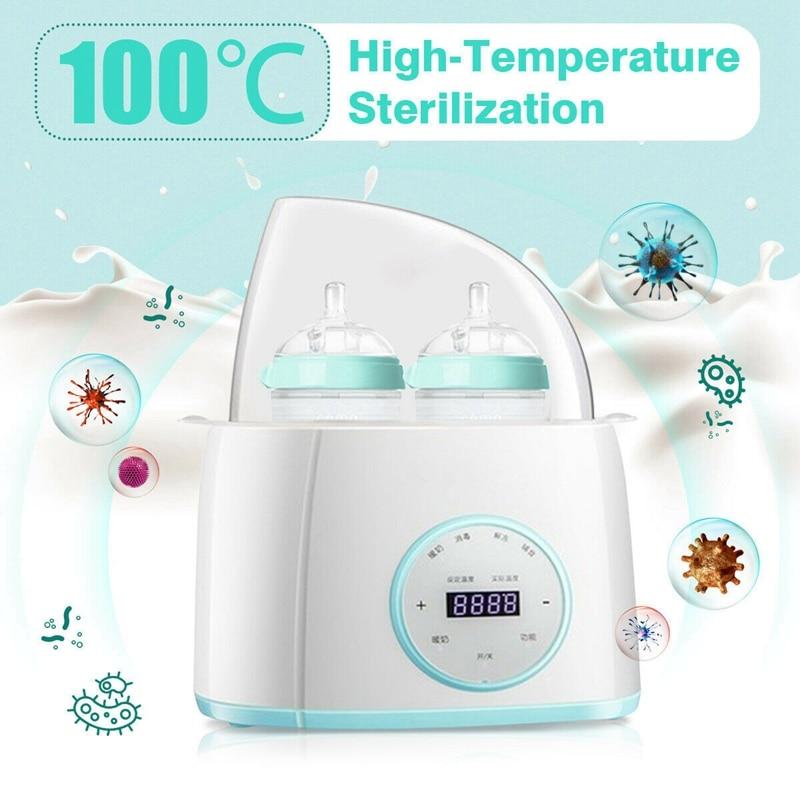 6 In 1 Double Steam Baby Feeding Insulated Bottle Milk Warmer Children With Timer US Plug