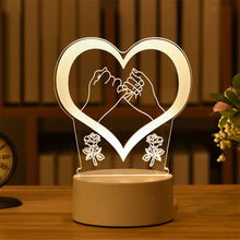 Lâmpada de LED romântica e em acrílico em 3D, candeeiro de mesa de luz decorativa em forma de balão, coração e amor para noite e presente de dia dos namorados, namorada e esposa