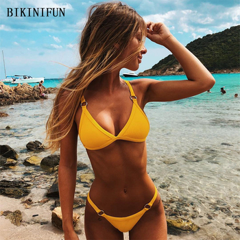 New Sexy Solid Color Bikini Women Swimsuit Thong Bikini Swimwear S-L Girl Backless Pad Bathing Suit Two Piece Micro Bikini Set