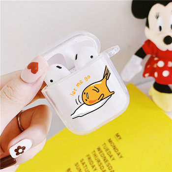 Cute Gudetama Lazy Egg Earphone Case For Apple AirPods 2 1 Soft Silicone Clear Protective Cover Wireless Charging Box Coque Bag