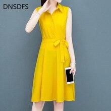 Midi Dress Chiffon Shirt Spring Summer Yellow Korean Fashion Casual Sleeveless Collar
