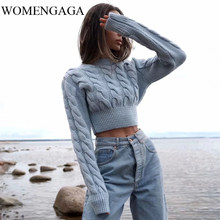 Womengaga Vrouwen Vintage Chunky Kabel Jumper Crew Neck Kabel Cropped Knit Top Breien Trui 4QQX