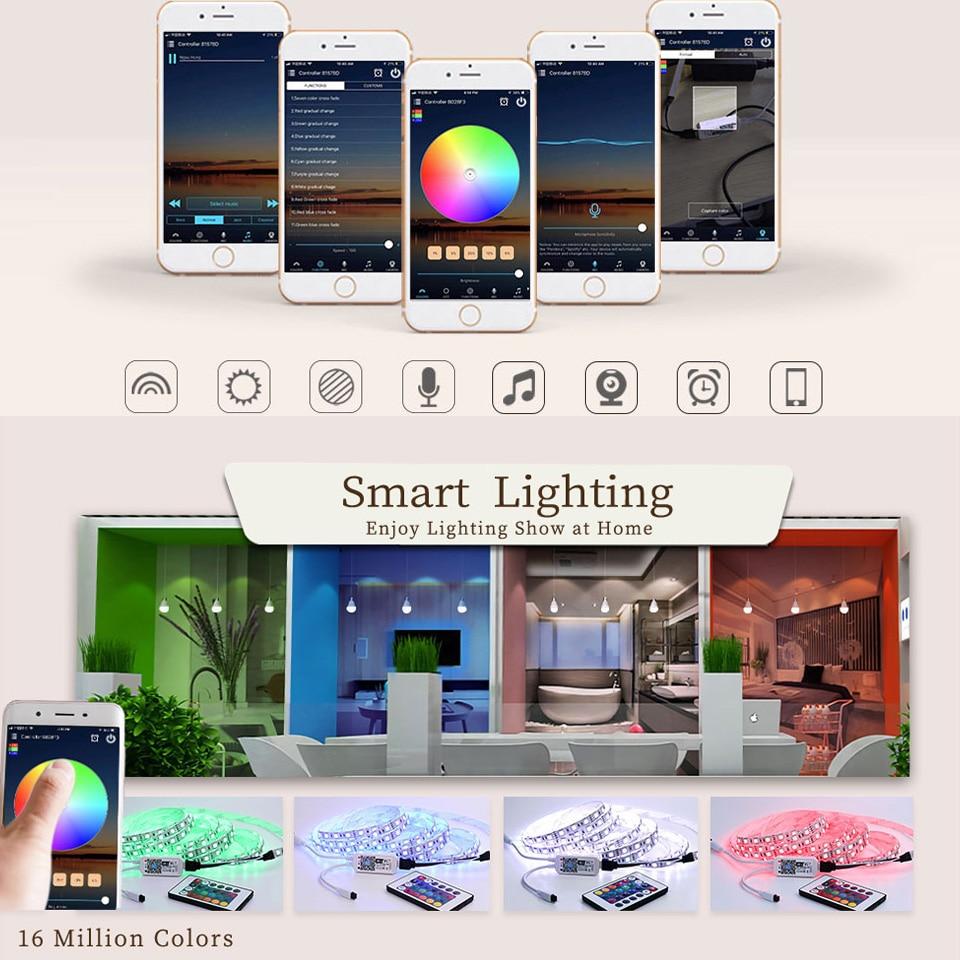 Smart RGB LED Strip Light SMD Waterproof RGB Tape DC12V 10M 33Feet LED Strip Light Flexible Stripe Lamp IR WIFI Controller (64)